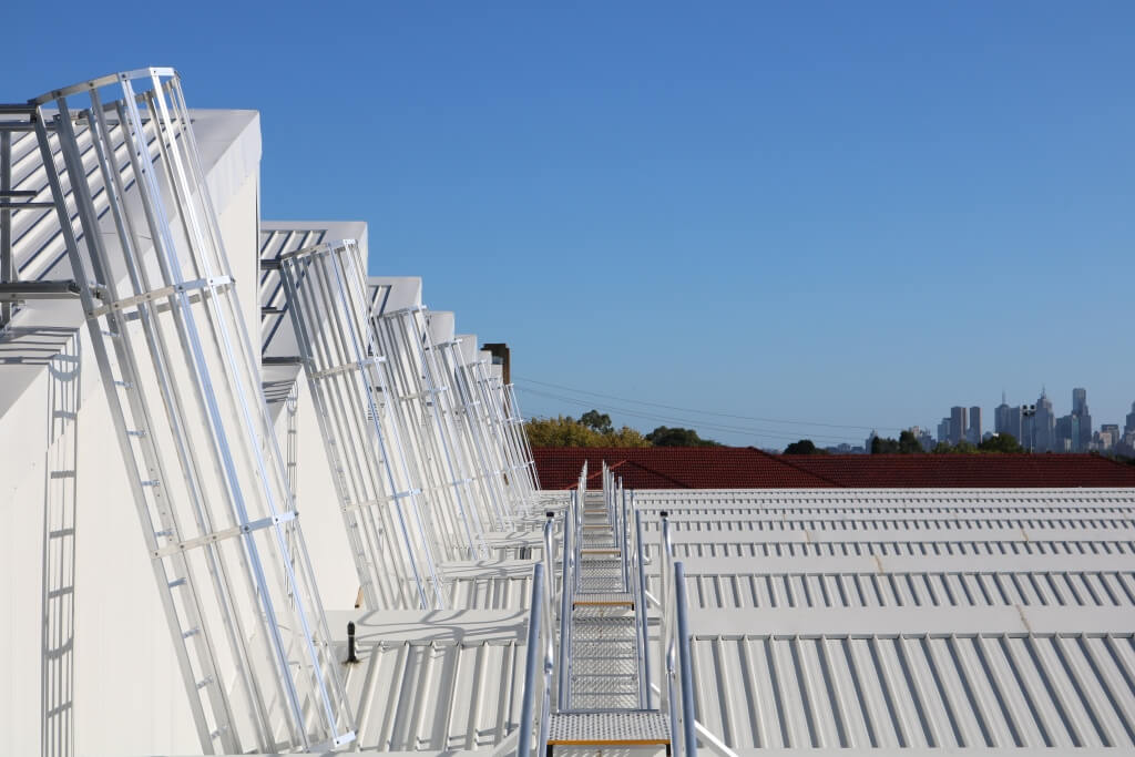 Many Caged Ladders - Secure Height Systems - Sydney
